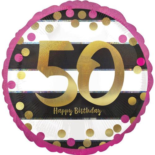 "18"" Pink & Gold 50th Birthday Holographic"